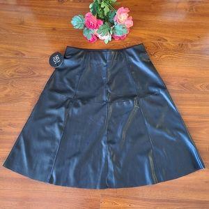 One 5 one Faux Leather Midi Skirt Size Medium
